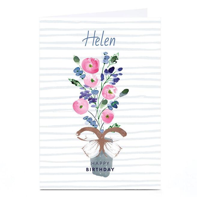 Personalised Rebecca Prinn Birthday Card - Flower Vase
