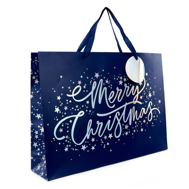 Large Landscape Blue & Silver Stars Christmas Gift Bag