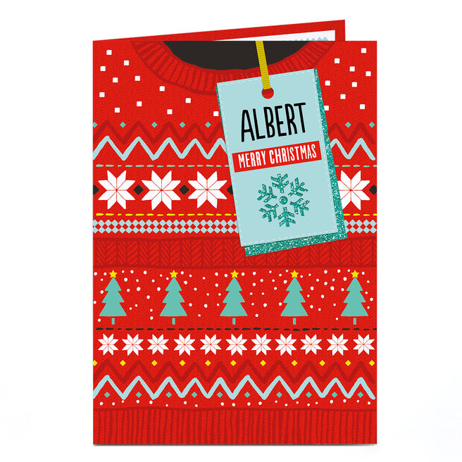 Personalised Christmas Card - Red Christmas Jumper