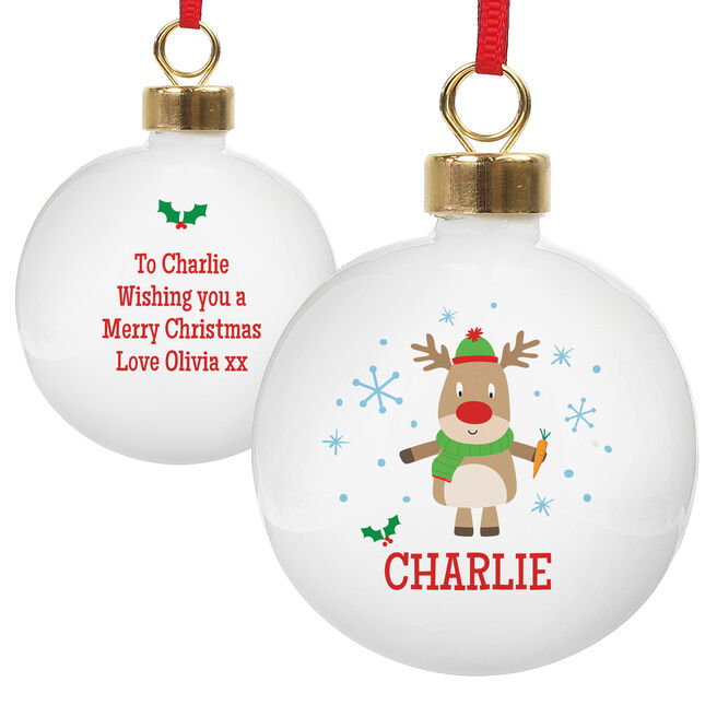 Personalised Christmas Bauble - Reindeer