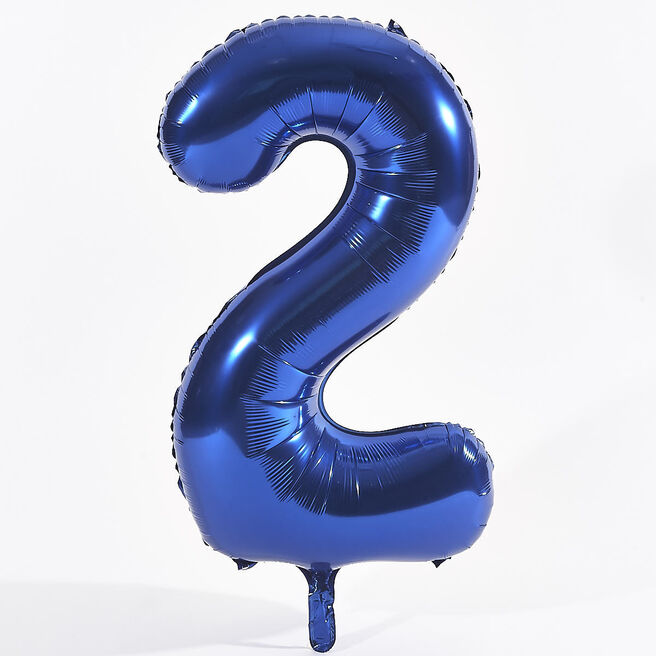 Blue Number 2 Foil Giant Helium Balloon (Deflated)