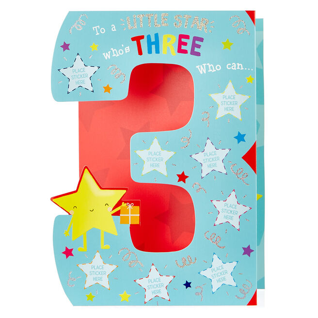 3rd Birthday Sticker Reward Card - Little Star