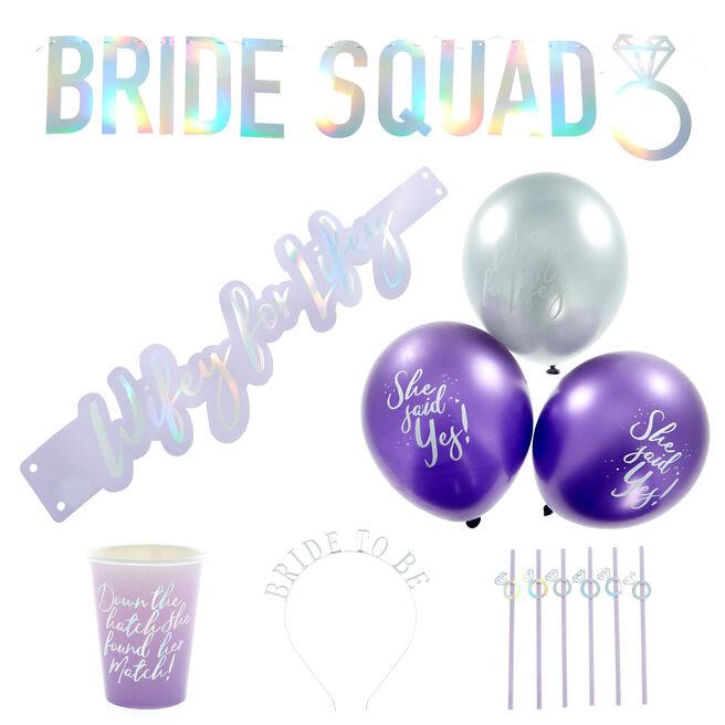 Bride Squad Hen Party Tableware & Decorations Bundle - 38 Pieces