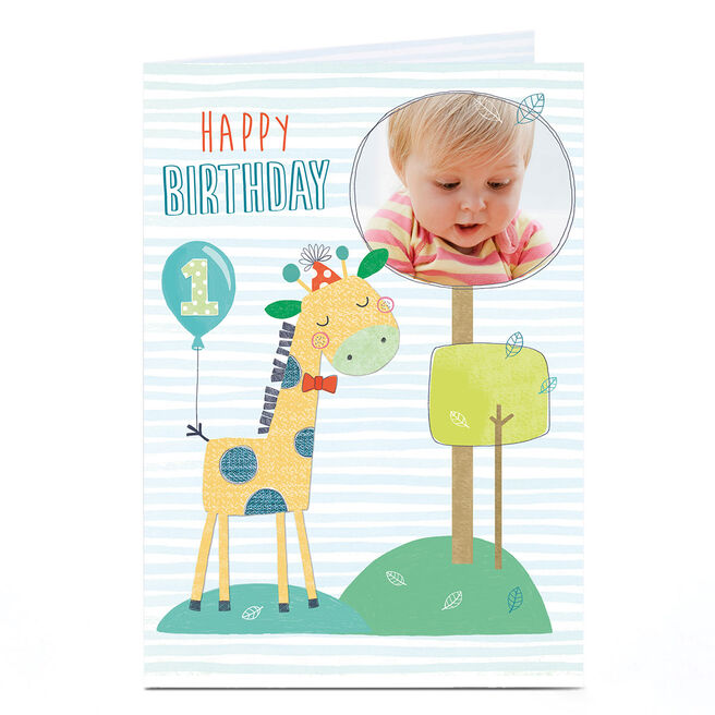 Photo 1st Birthday Card - Giraffe & Trees