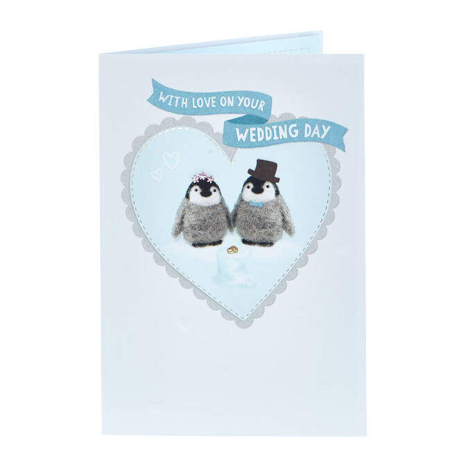 Wedding Card - With Love, Penguins