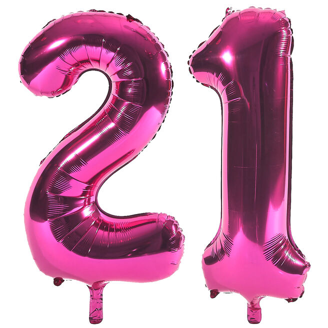 Age 21 Giant Foil Helium Numeral Balloons - Pink (deflated)