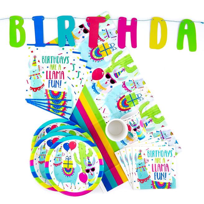 Birthday Llama Party Tableware & Decorations Bundle - 82 Pieces