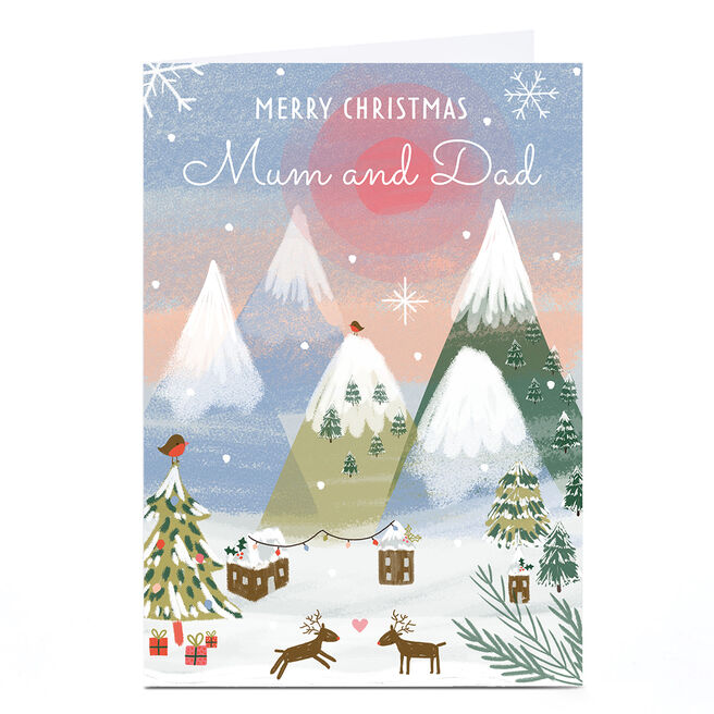 Personalised Juniper & Rose Christmas Card - Mountains