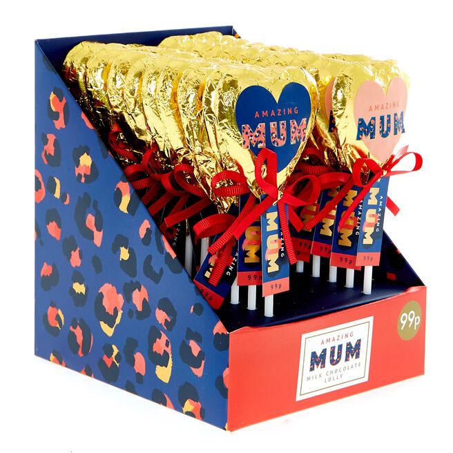Amazing Mum Chocolate Heart-Shaped Lollies - Pack Of 22