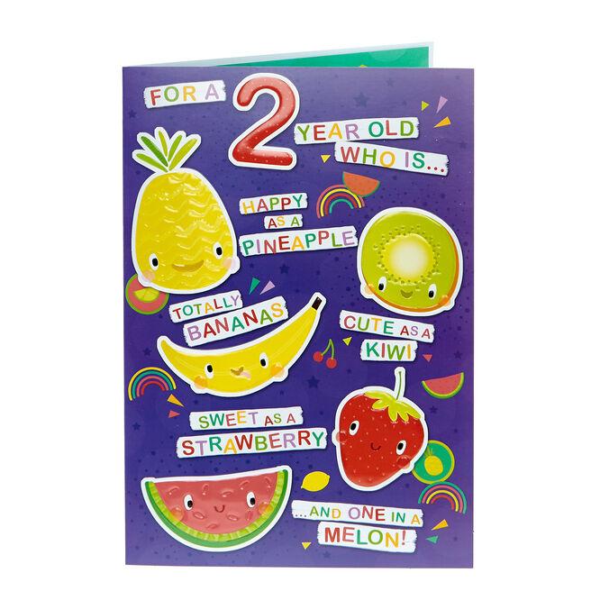 2nd Birthday Card - Cute Fruits