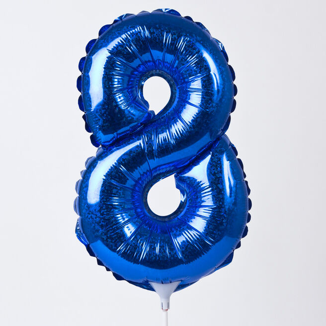 Holographic Blue Number 8 Balloon On A Stick