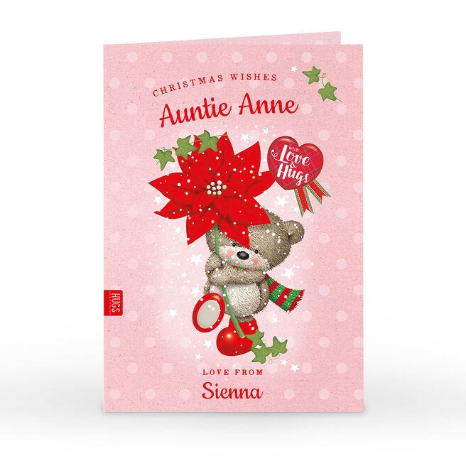 Hugs Personalised Christmas Card - Red Flower
