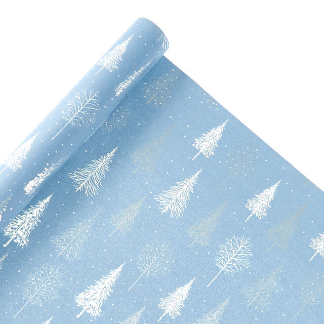 Blue Trees Christmas Wrapping Paper - 2 Metres
