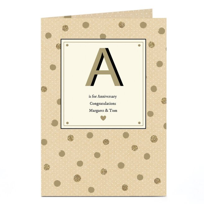 Personalised Anniversary Card - A Is For Anniversary
