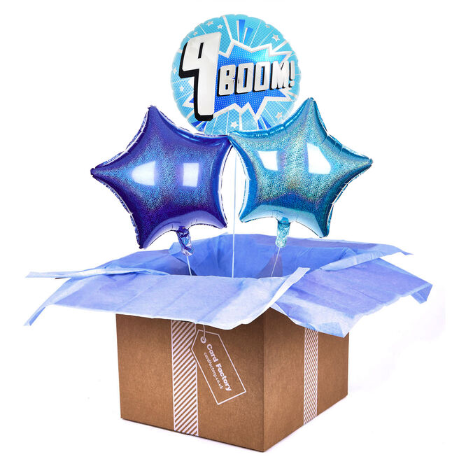 Boom! 9th Birthday Balloon Bouquet - DELIVERED INFLATED!