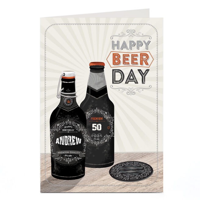 Personalised Any Age Birthday Card - Happy Beer Day, Any Name
