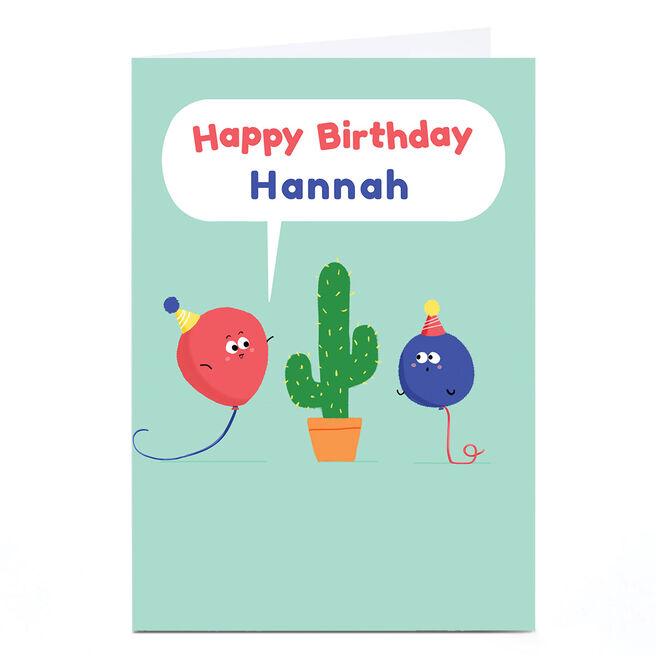 Personalised Hew Ma Birthday Card - Cactus
