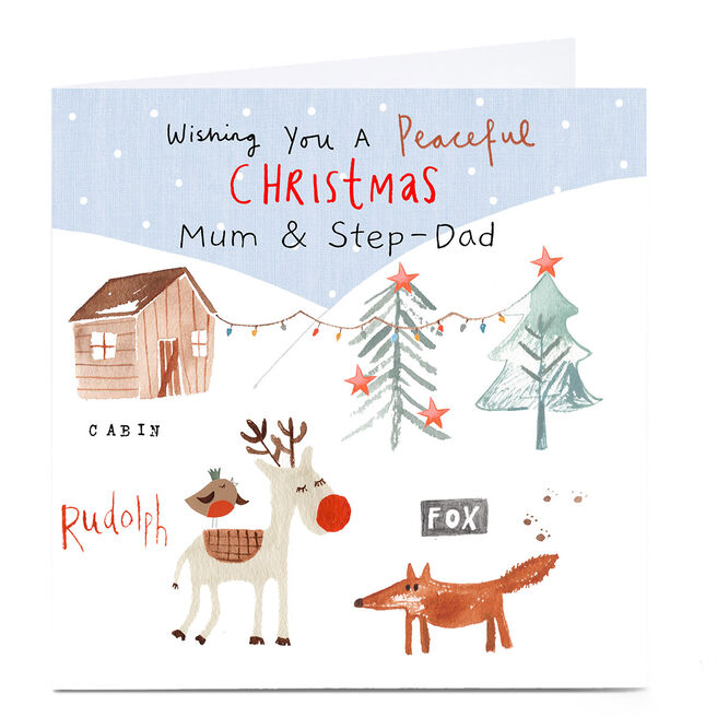 Personalised Lindsay Loves To Draw Christmas Card - Peaceful