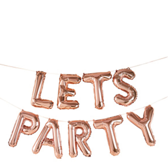 Rose Gold Let's Party 14-Inch Balloon Banner