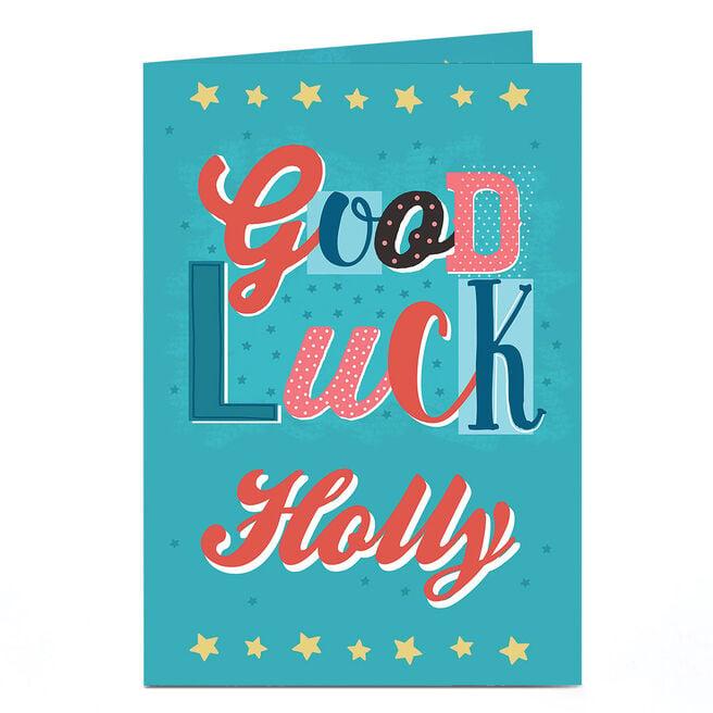 Personalised Good Luck Card - Blue & Orange