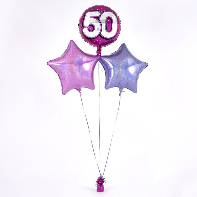 Pink 50th Birthday Balloon Bouquet - DELIVERED INFLATED!