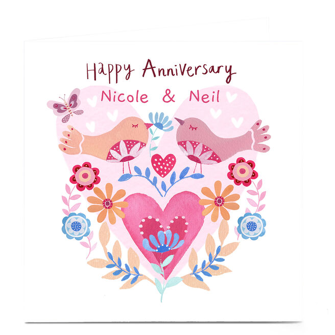 Personalised Lindsay Loves To Draw Anniversary Card - Hearts
