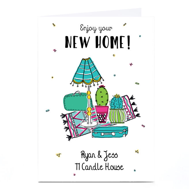 Personalised New Home Card - Cactus & Lamp