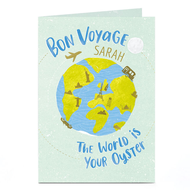 Personalised Leaving Card - Bon Voyage, The World Is Your Oyster
