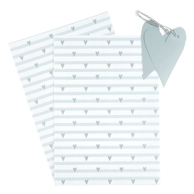 Silver Hearts Gift Wrap & Tag Set