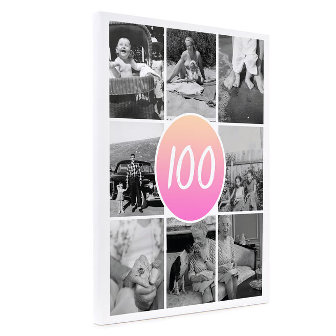Personalised 100th Canvas 16x12 - Portrait - Pink Gradient
