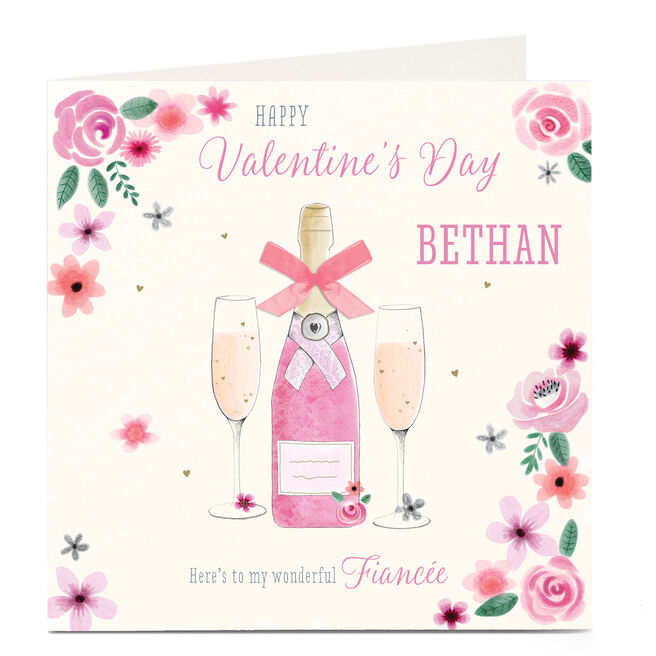 Personalised Valentine's Card - Pink Champagne and Flowers