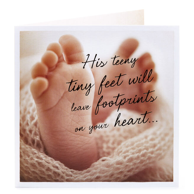 New Baby Card - His Little Footprints