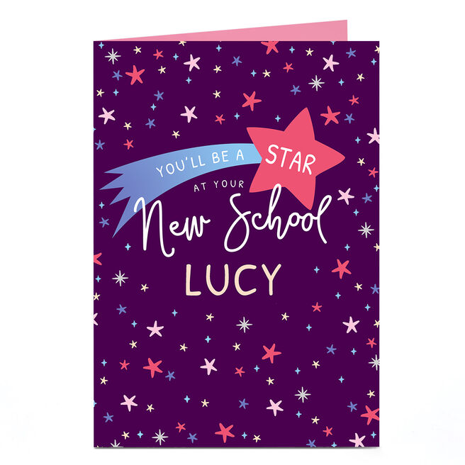 Personalised Good Luck Card - Star New School