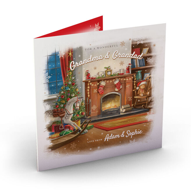 Personalised Christmas Card - Fireplace Grandma & Grandad