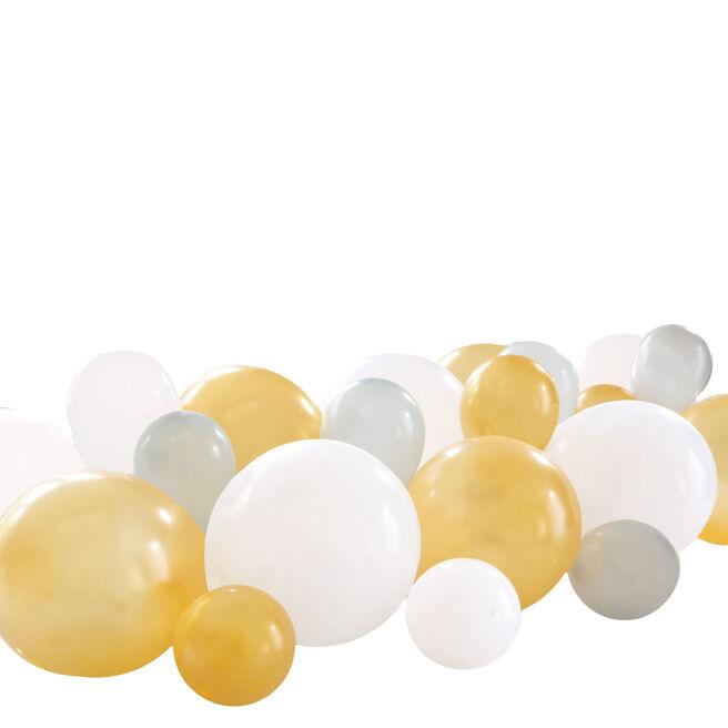 Silver, White & Gold Balloon Garland Table Runner Kit