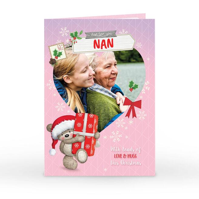 Personalised Hugs Christmas Photo Card - Pink Snowflakes Bear