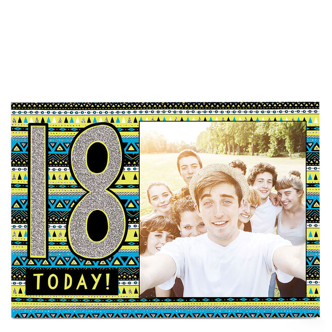 Photo 18th Birthday Card - Silver & Aztec