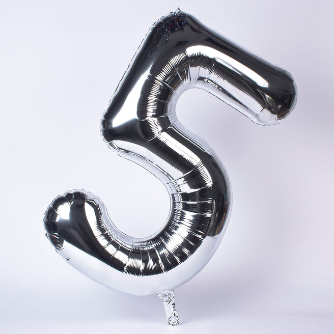 Silver Number 5 Giant Foil Helium Balloon INFLATED