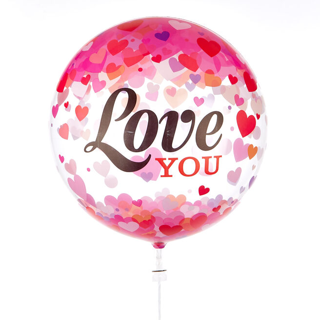 22-Inch Bubble Balloon - Love You Confetti Hearts DELIVERED INFLATED!