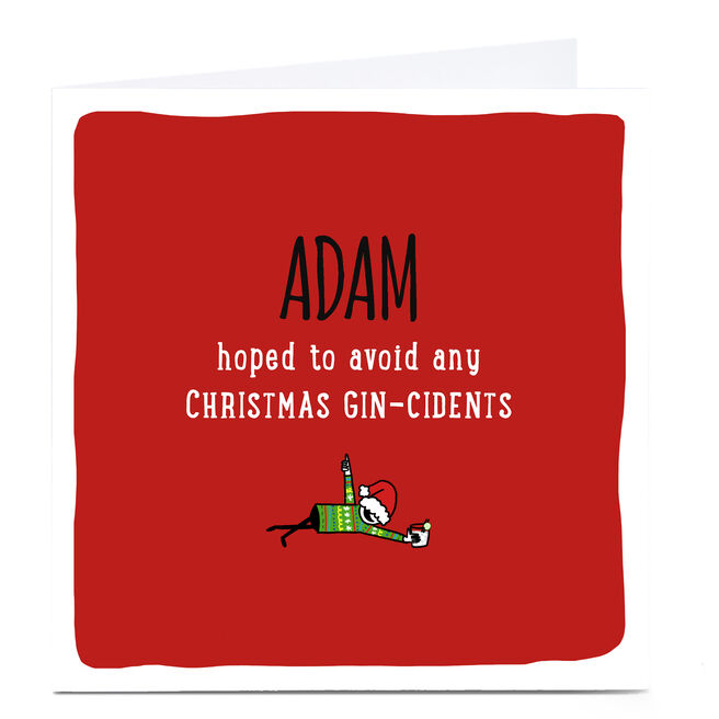 Personalised Cheeky Christmas Card - Christmas Gin-Cidents
