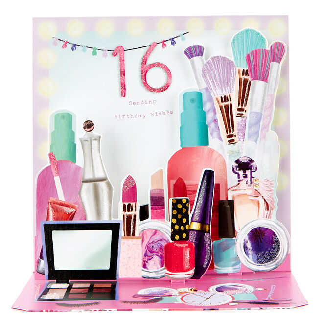 Boutique Collection Pop-Up 16th Birthday Card - Makeup