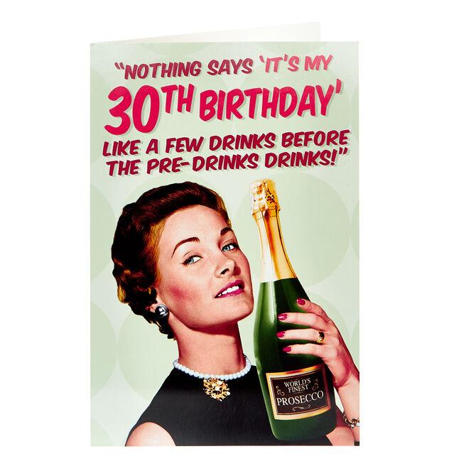 30th Birthday Card - A Few Drinks
