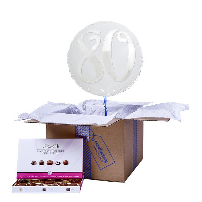 Silver & White 80th Birthday Balloon & Chocolate Box