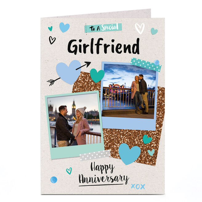 Photo Anniversary Card - Polaroid Scrapbook, Girlfriend