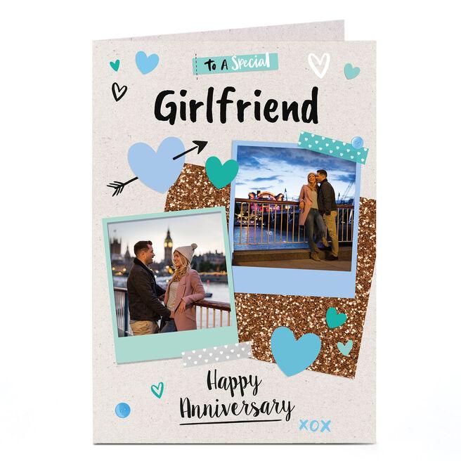 Photo Anniversary Card - Polaroid Scrapbook, Girlfriend