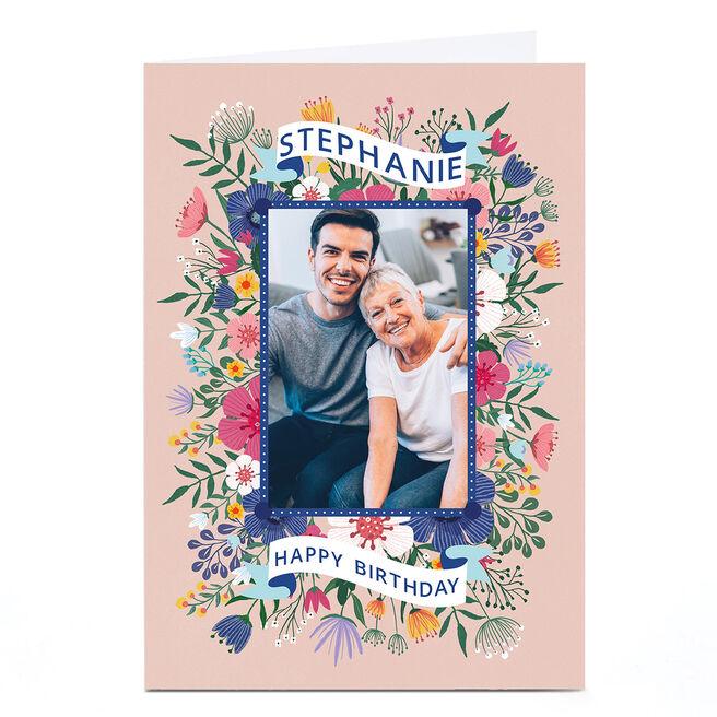 Photo Dalia Clark Birthday Card - Cream Floral Frame