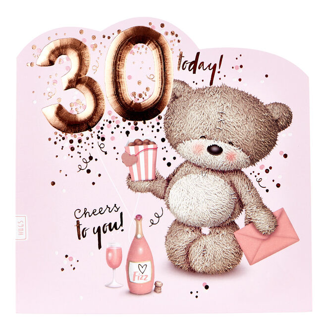 Platinum Collection 30th Birthday Card - Hugs Bear, Champagne