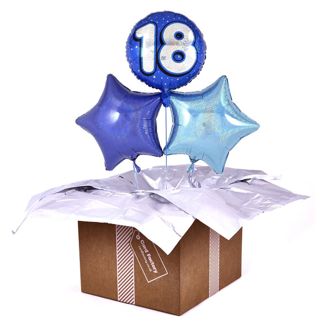 Blue 18th Birthday Balloon Bouquet - DELIVERED INFLATED!