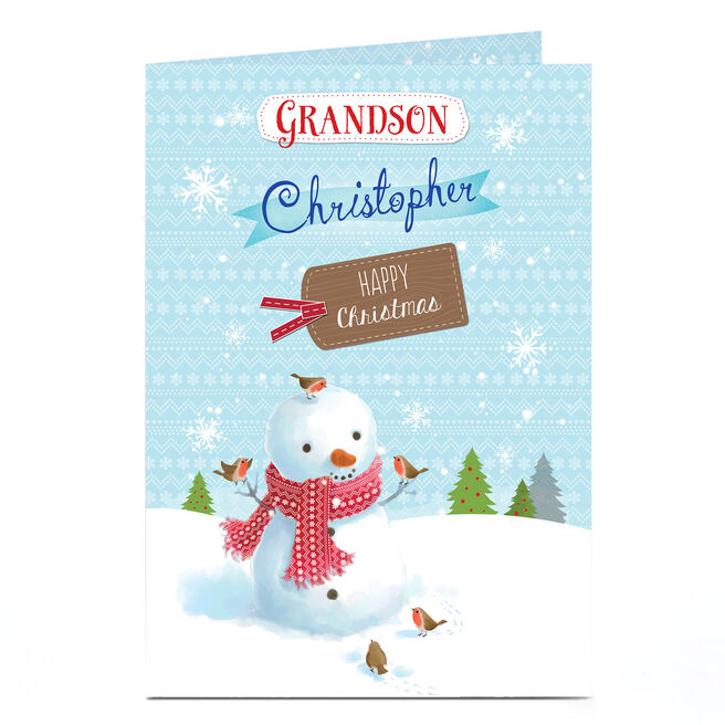 Personalised Christmas Card - Grandson Snowman