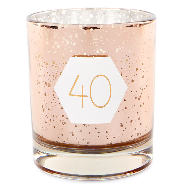 Rose Gold Vanilla Scented 40th Birthday Candle